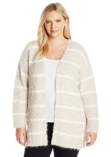 Calvin Klein Women's Plus Size Eyelash Stripe Cardi