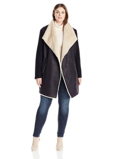 Calvin Klein Women's Plus Size Fur and Faux Suade Jacket  1X