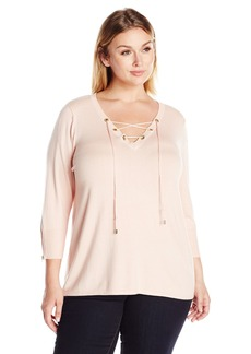 Calvin Klein Women's Plus Size Fine Guage Lace up Sweater