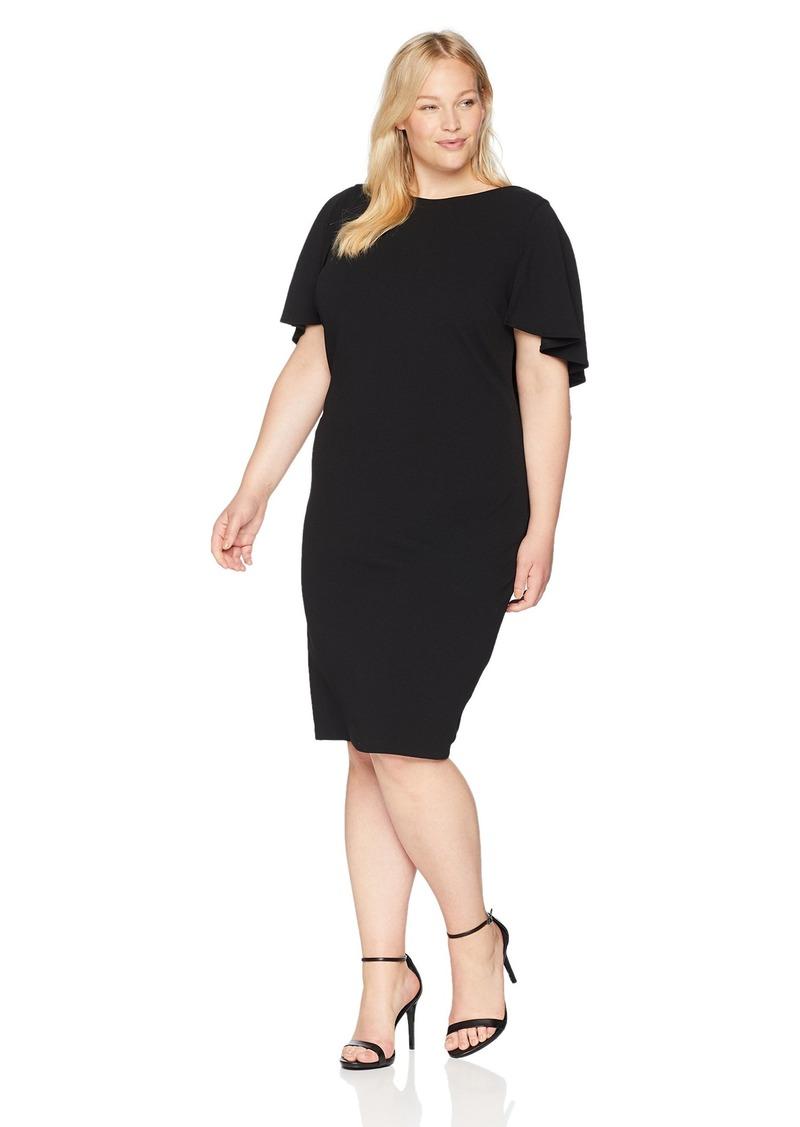 Calvin Klein Women's Plus Size Flutter Sleeves Sheath Dress