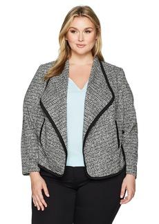 Calvin Klein Women's Plus Size Flyaway Jacket with Binding Black/White Tweed