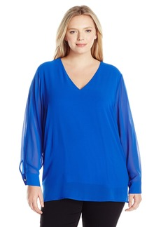Calvin Klein Women's Plus Size Hi-Low V-Neck Blouse