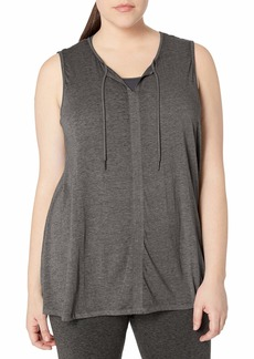 Calvin Klein Women's Plus Size ICY Wash Tie Front Drapey Tank Shirt