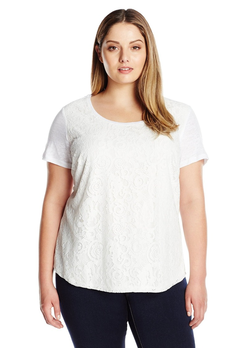 Calvin Klein Women's Plus Size Lace Front S/s Top