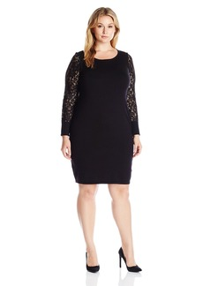 Calvin Klein Women's Plus Size Lace Sleeve Sweater Dress