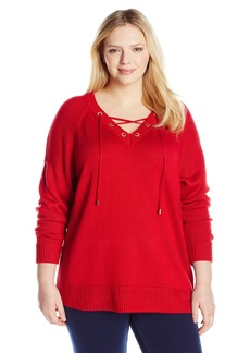 Calvin Klein Women's Plus-Size Lace Up V-Neck Sweater