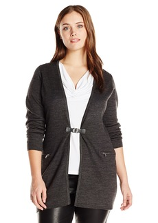 Calvin Klein Women's Plus-Size Long Cardigan with Buckle