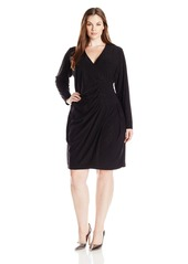 Calvin Klein Women's Plus Size Long Sleeve Side Ruched Dress in Glittery Jersy Fabric