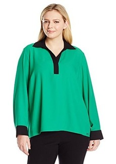 Calvin Klein Women's Plus-Size Long Sleeve with Contrast Collar and Cuff