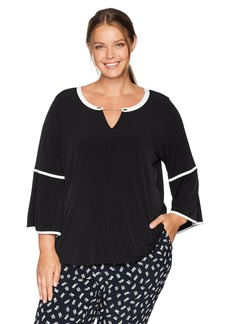 Calvin Klein Women's Plus Size Long Sleeve with Piping and Chain Hardware