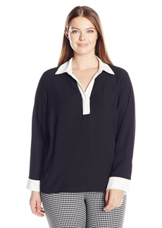 Calvin Klein Women's Plus Size Long-Sleeved Top with Contrasting Cuff