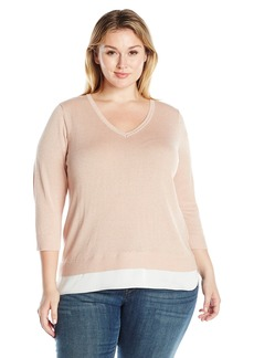 Calvin Klein Women's Plus Size L/s Lurex 2-Fer Sweater