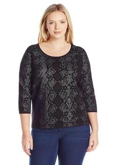 Calvin Klein Women's Plus Size L/s Sweater W/ Snake Detail