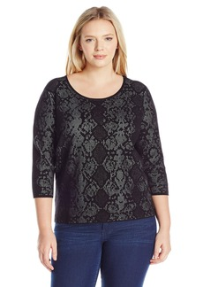 Calvin Klein Women's Plus Size L/s Sweater W/ Snake Detail