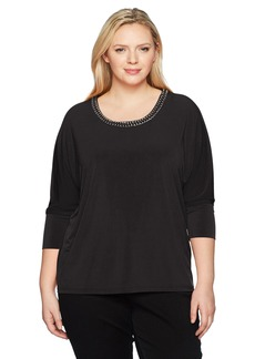 Calvin Klein Women's Plus Size L/s Top with Gold Chain