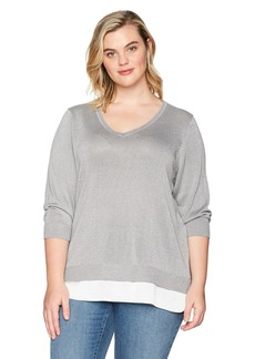 Calvin Klein Women's Plus Size Lurex 2fer Sweater