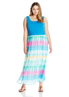 Calvin Klein Women's Plus Size Maxi Dress W/ Chiffon Bottom  0X