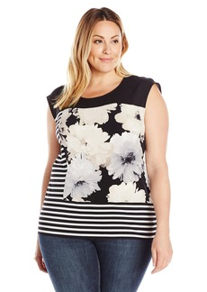 Calvin Klein Women's Plus Size Mixed Print Tee