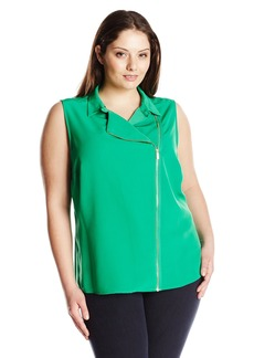 Calvin Klein Women's Plus Size Moto Blouse With Zips
