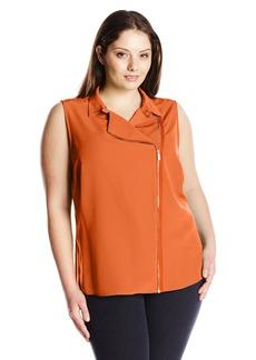 Calvin Klein Women's Plus Size Moto Blouse W/ Zips