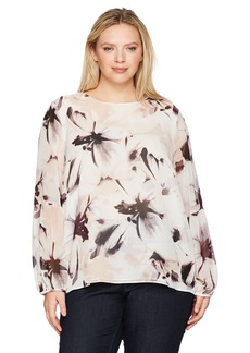 Calvin Klein Women's Plus Size Peasant Sleeve Blouse