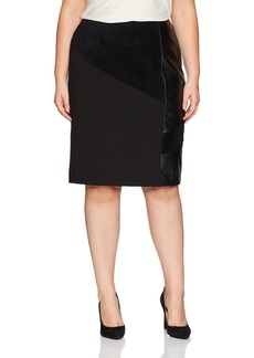 Calvin Klein Women's Plus Size Pencil Skirt with Suede and Pu