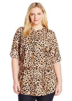 Calvin Klein Women's Plus Size Print Tunic Roll Sleeve Blouse