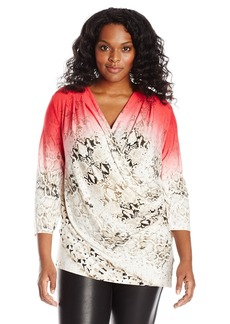 Calvin Klein Women's Plus-Size Print Wrap Top with Ruchng