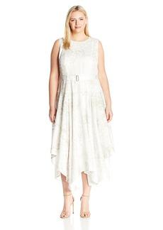Calvin Klein Women's Plus Size Printed Belted Handkerchief Dress  22W