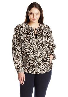 Calvin Klein Women's Plus-Size Printed Bomber Jacket  3X