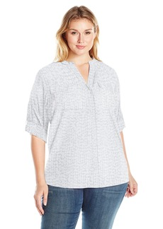 Calvin Klein Women's Plus Size Printed Crew Neck Roll Sleeve Blouse
