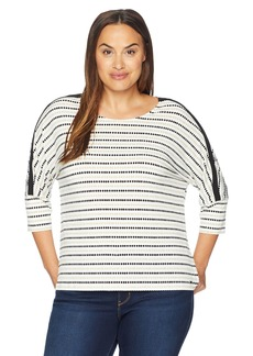 Calvin Klein Women's Plus Size Printed Long Sleeve with D Ring Detail