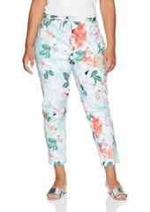 Calvin Klein Women's Plus Size Printed Pants with Zippers seas Multi