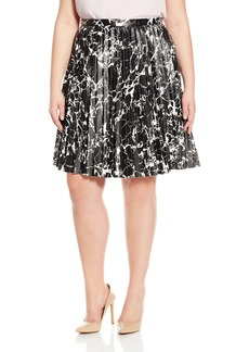 Calvin Klein Women's Plus Size Printed Pleated Skirt