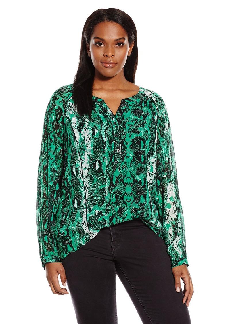 Calvin Klein Women's Plus Size Printed Poet Blouse Green/Black