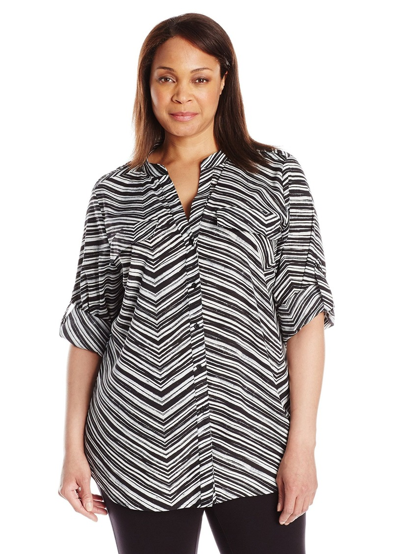 Calvin Klein Women's Plus Size Printed Roll Sleeve Blouse  1X