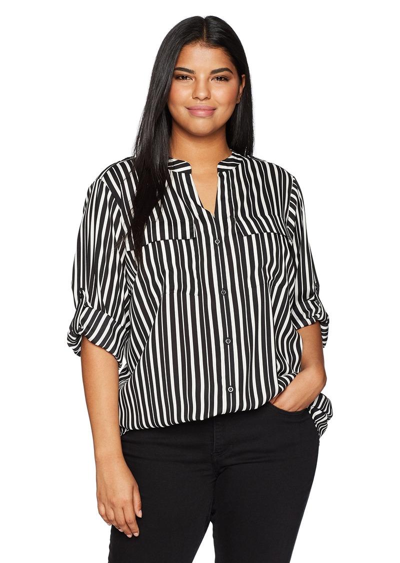 Calvin Klein Women's Plus Size Printed Roll Sleeve Blouse