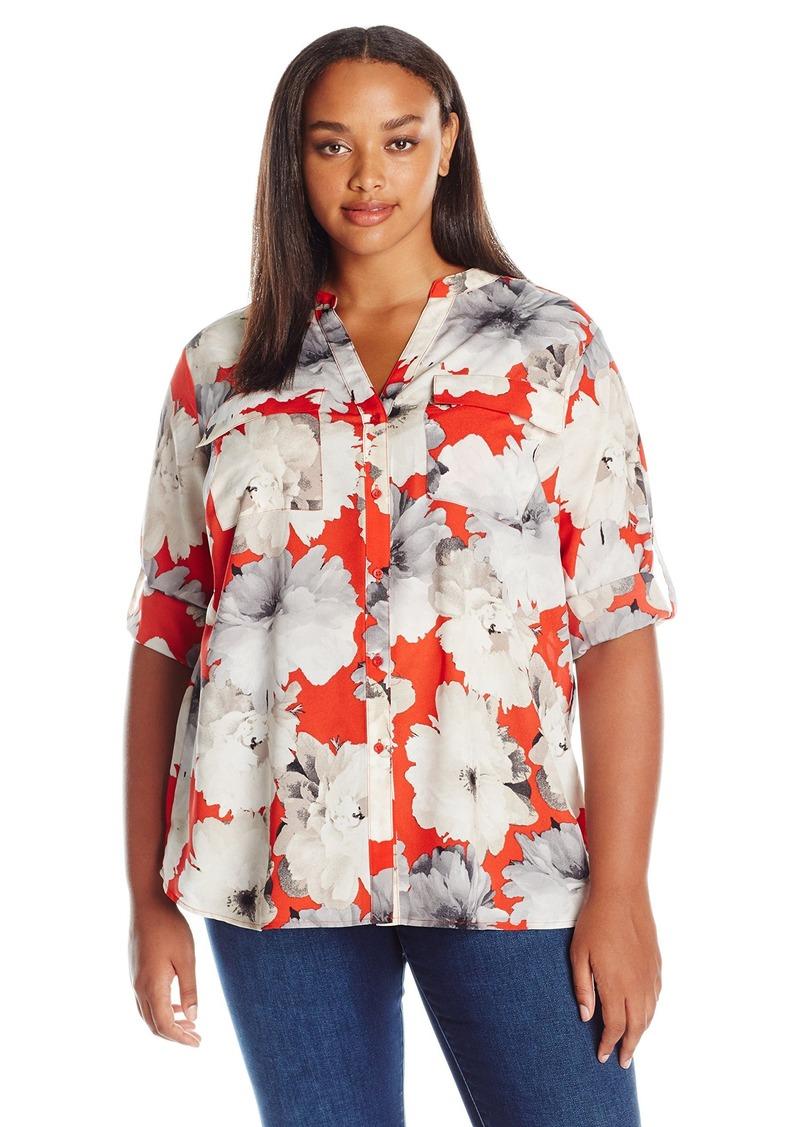 Calvin Klein Women's Plus Size Crew Neck Roll Sleeve Blouse  1X