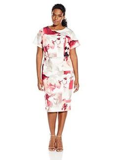 Calvin Klein Women's Plus Size Printed Sheath W/ Cap Sleeve Hibiscus Multi Cksp 16W
