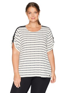 Calvin Klein Women's Plus Size Printed Short Sleeve with D Ring Detail
