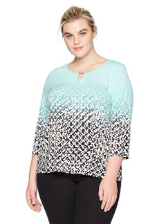 Calvin Klein Women's Plus Size Printed Top with Bar