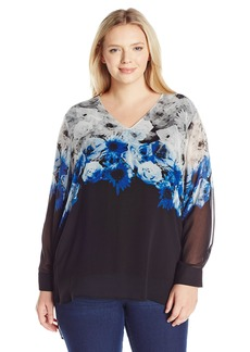Calvin Klein Women's Plus Size Printed V-Neck Blouse