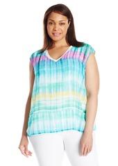 Calvin Klein Women's Plus Size Printed V-Neck Chiffon Layer Top