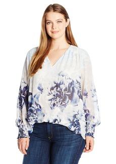 Calvin Klein Women's Plus Size Printed V-Neck Peasant Top