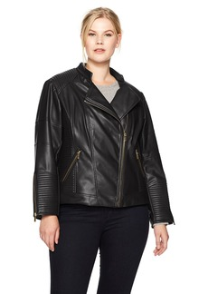 Calvin Klein Women's Plus Size PU Jacket With Seaming