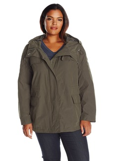 Calvin Klein Women's Plus Size Rain Anorak Cotton Jacket IVY