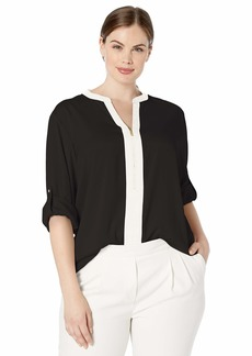 Calvin Klein Women's Plus Size Roll Sleeve Blouse with Half Zip