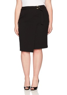 Calvin Klein Women's Plus Size Scuba Crepe Skirt with Buckle