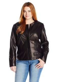 Calvin Klein Women's Plus Size Seamed Leather Jacket