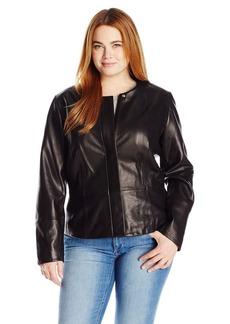 Calvin Klein Women's Plus Size Seamed Leather Jacket